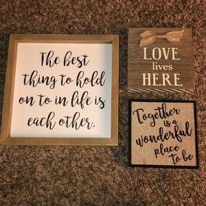 Lot of 3 Rustic Farmhouse Love Signs